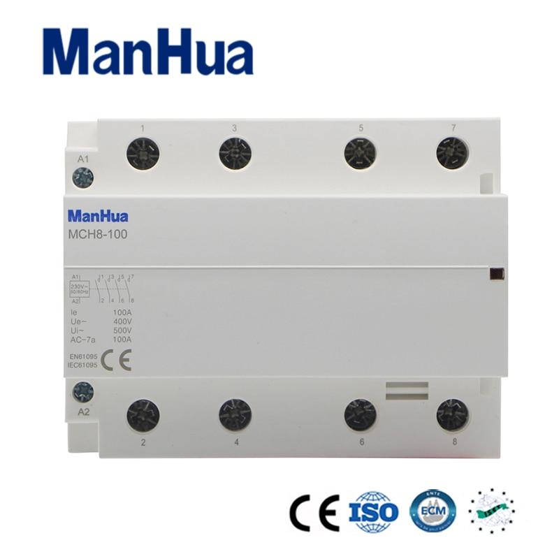 ManHua 400V 100A 4P AC Household Electric Contactor MCH8 100 Elevator Modular Contactor