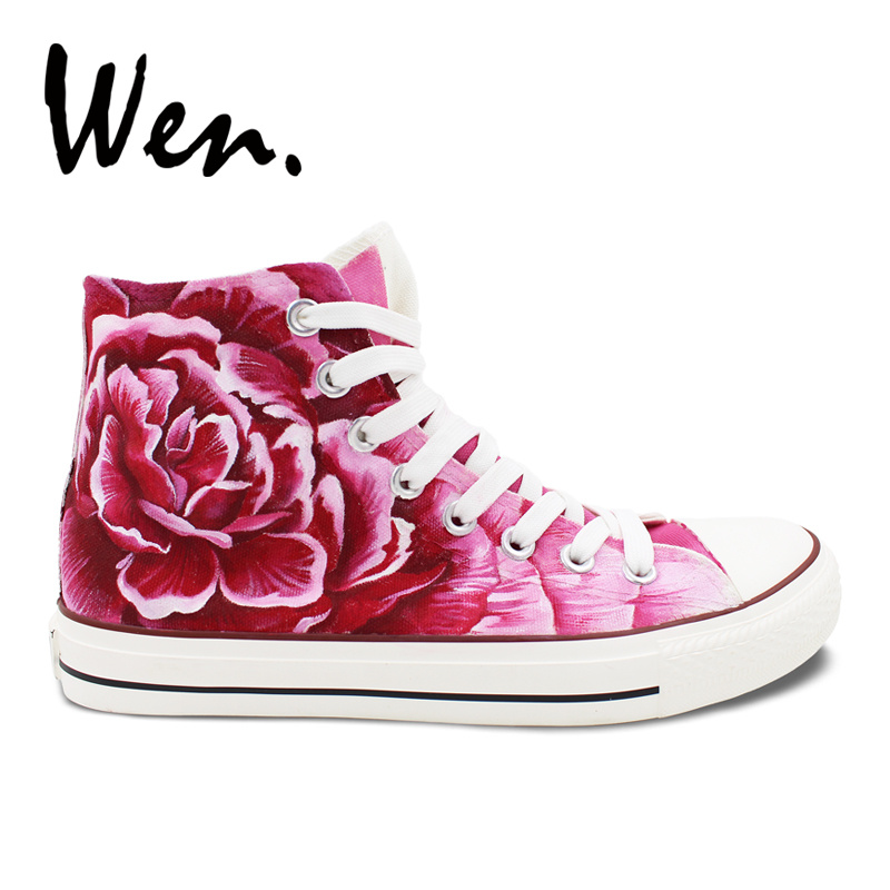 Wen Design Original Hand Painted Canvas Shoes Pink Carnation Flowers High Top Skateboard Shoes  Sneakers for Mother's Gifts wen original hand painted shoes design rainbow color heart pattern pink slip on canvas sneakers gifts for girls women