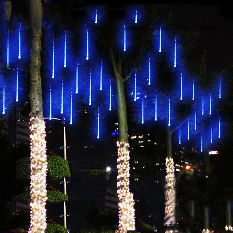 Meteor Shower Rain Tubes 144led 8 tubes AC100-240V LED string Kerstverlichting Wedding Party Garden Light Outdoor EU / US plug JL