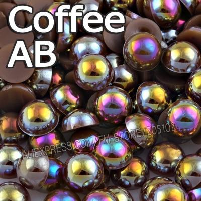 Кофе AB коричневый половина круглый шарик Mix Размеры 2 мм 3 мм 4 мм 5 мм 6 мм 8 12 мм имитация ABS плоской задней жемчужина DIY Nail ювелирных аксессуаров