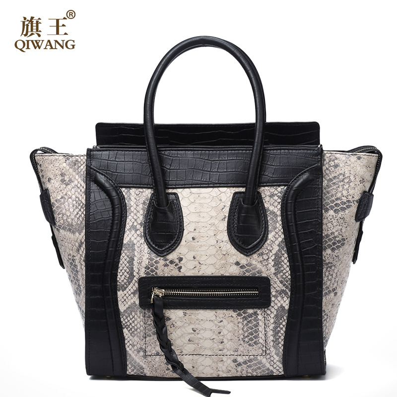 Qiwang Women Classic Luxury Real Leather Smiling Face Bag Chamois Handbags Bat Wings Lady Smiley Tote Bags Famous Purse Brand smiley trapeze tote bags luxury brand leather handbags smiling face famous designer shoulder bags crossbody bags for women