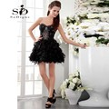 Homecoming Dress 2017 SoDigne Hot Sale Sweetheart Beaded Lace Ruched Short Prom Party Gown Black Off The Shoulder