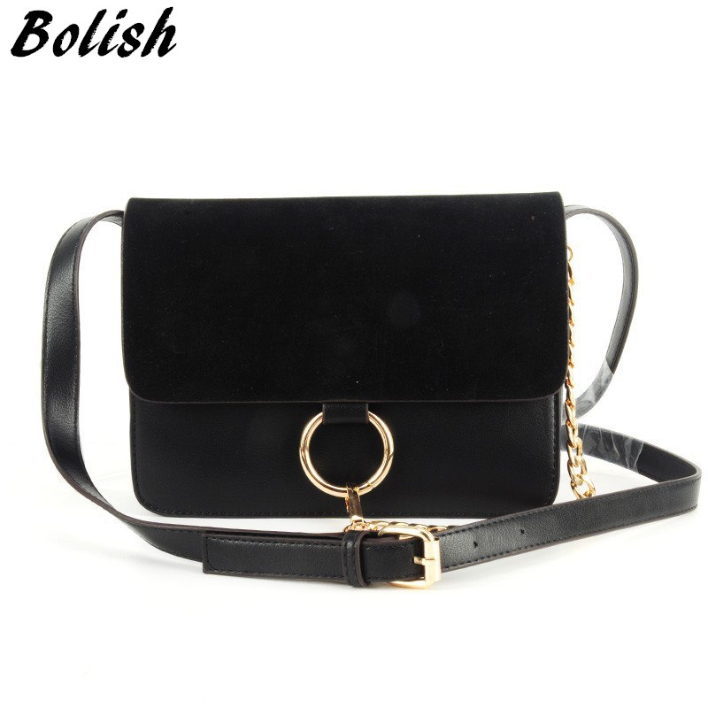 Bolish New Arrival Nubuck Leather Women Bag Fashion Chain Lock Women Shoulder Bag Small Women Crossbody Bag