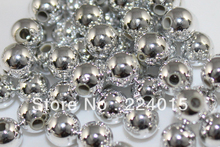 100pcs/12mm Hot Sale Wholesale Silver Plated Acrylic ABS Round Miracle /Perles Bead For European Jewelry DIY,Freeshipping,B0913#