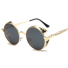 Round Metal Sunglasses Men Women Polarized Steampunk Sunglasses Fashion Glasses Brand Designer Retro Vintage glasses FSK-T17066P