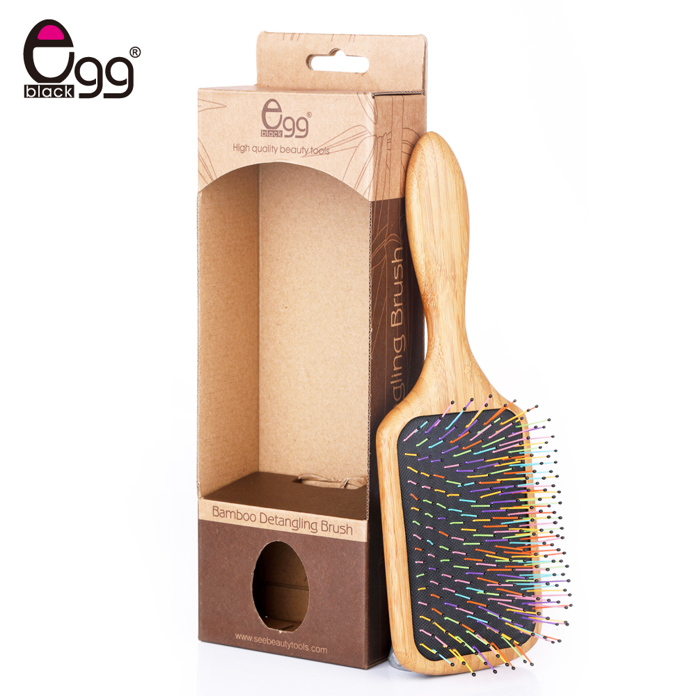 Head Massage Comb Antistatic Cushion Comb Bamboo Paddle Pointed Handle Colorful Teeth Hair Care Brush With Gift Box