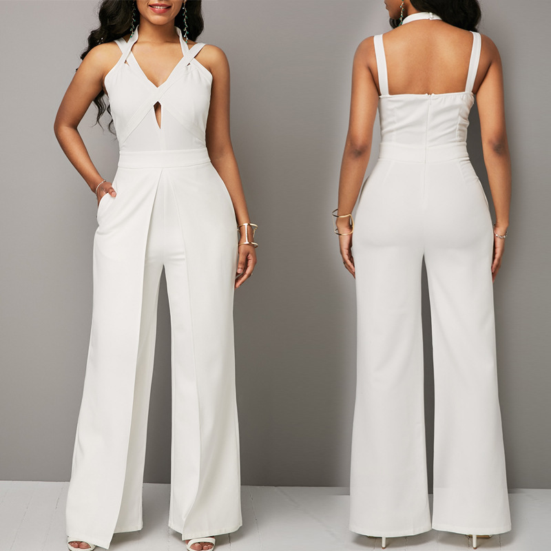 MUXU white jumpsuit combinaison pantalon femme elegante v neck wide leg jumpsuit backless bodysuit bodies woman sexy overall