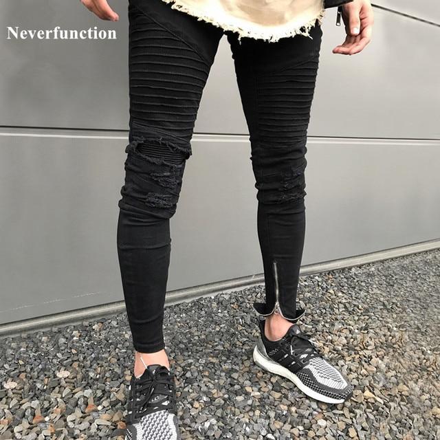 c904756be5d NEW Black Men Knee Holes Destroyed Skinny Stretch biker Jeans Fashion Ripped  Designer Hip Hop Street mens Pencil Jeans pants