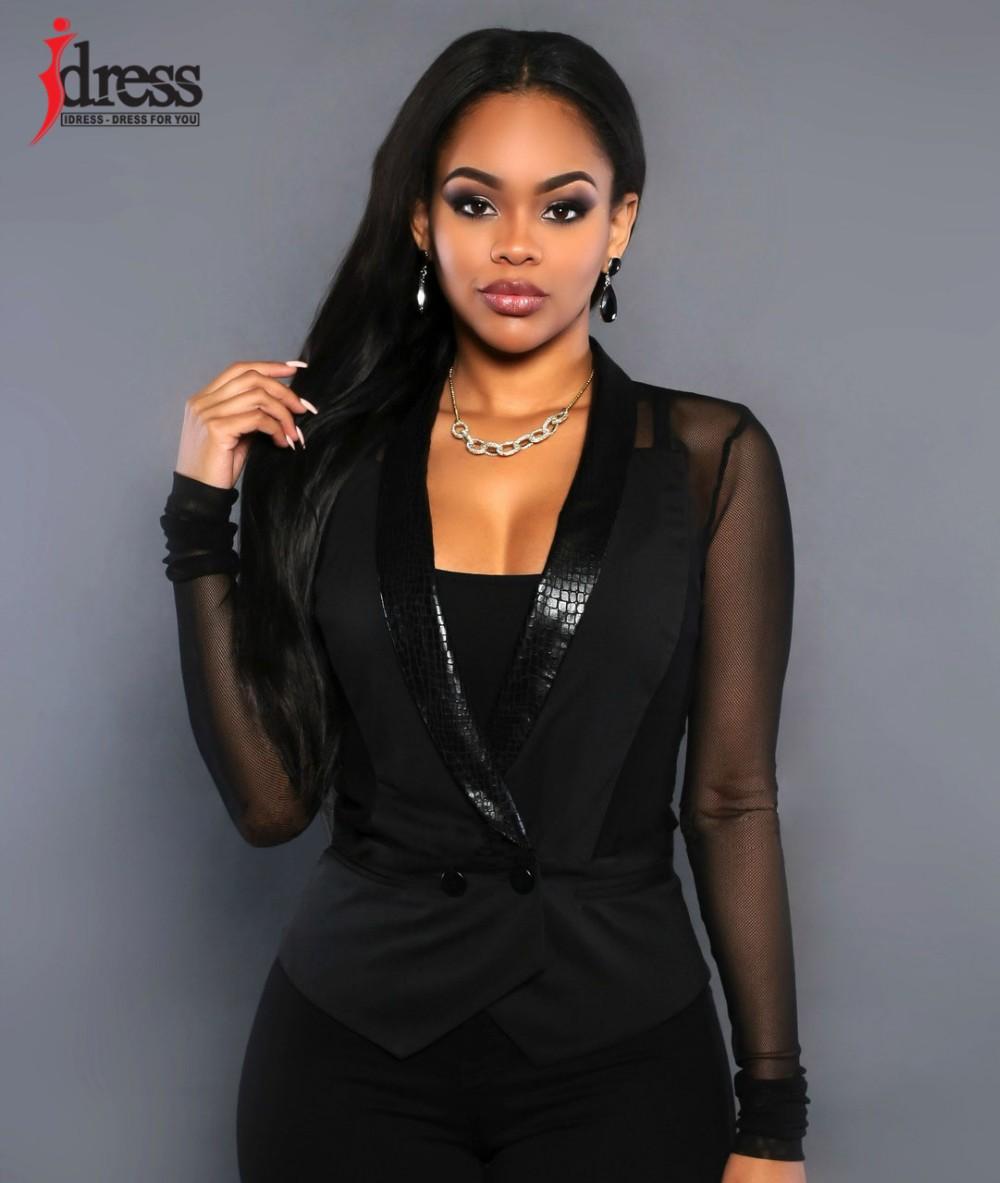 IDress Women Blazer Jackets 2016 Fashion Mulher Sexy Blazer Women Button Veste Femme Blazer Mesh Leather Partchwork Long-Sleeve Slim Blazer Women Blazers