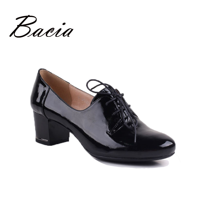 Bacia Handmade High Heel Shoes Round Toe Lace-up Women Genuine Leather Shoes Heel Luxury High Quality Cow Leather Pumps VE006 women s genuine leather patchwork lace up pumps brand designer thick high heel spring autumn high quality punk shoes for women