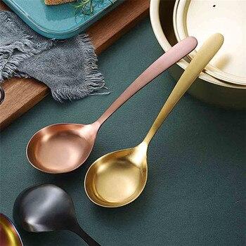 Nueva cuchara grande de sopa 1 pieza cuchara de sopa de acero inoxidable para mezclas y bebidas herramientas grandes de Metal cucharas de postre 0416 #30
