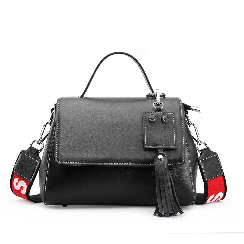 2018 new arrival wide strap tassel bag women's handbag/Genuine cow leather Crossbody bag casual fashion shoulder bags bfdadi 2018 new arrival hat genuine