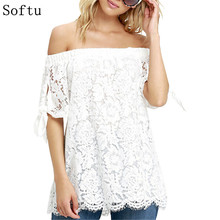 Softu Off Shoulder Women Blouses Lace Crochet Shirts Fashion Blusas 2016 Summer Sexy blusas feminina Short Sleeve Casual Tops