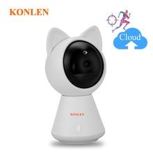 KONLEN واي فاي سحابة كاميرا IP 1080P 720P HD السيارات تتبع لاسلكي المنزل CCTV الأمن مربية الطفل كام عموم إمالة الأشعة تحت الحمراء P2P بطاقة SD