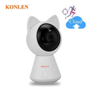 Image 1 - KONLEN واي فاي سحابة كاميرا IP 1080P 720P HD السيارات تتبع لاسلكي المنزل CCTV الأمن مربية الطفل كام عموم إمالة الأشعة تحت الحمراء P2P بطاقة SD