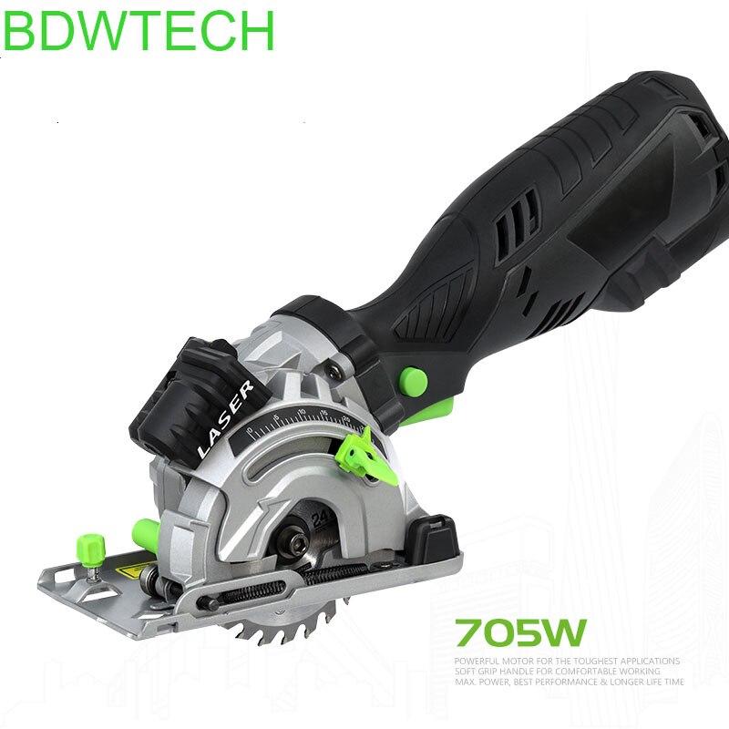 BDWTCH Electric  Mini Circular  Saw With Laser For Cut Wood,PVC Tube BTC01 - 705W With 3 Saw Blade  Circular Saw