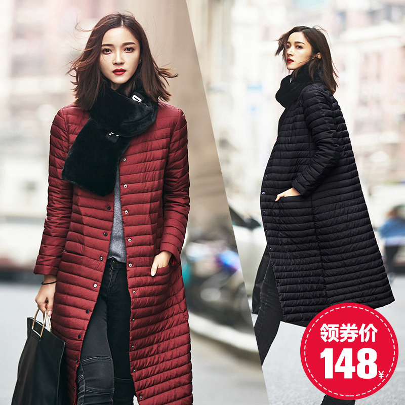 где купить Fei Italy in the long section of Korean women's singles collar breasted knee slim down jacket thin fashion coat female по лучшей цене