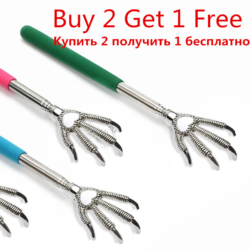 Practical Handy Stainless Pen Clip Back Scratcher Telescopic