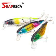 Купить с кэшбэком SEAPESCA New Three Section Flexible Wobblers Fishing Lure 11cm 15g Depth Diving Minnow Hard Bait 7 Colors Fishing Tackle YA51