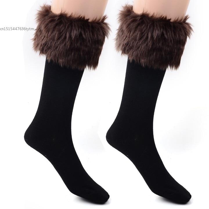 2017 Women's & girl's Winter Warm Socks Faux Fur Middle Tube Socks Christmas Snowman Design Wool Socks Free Shipping 3519333