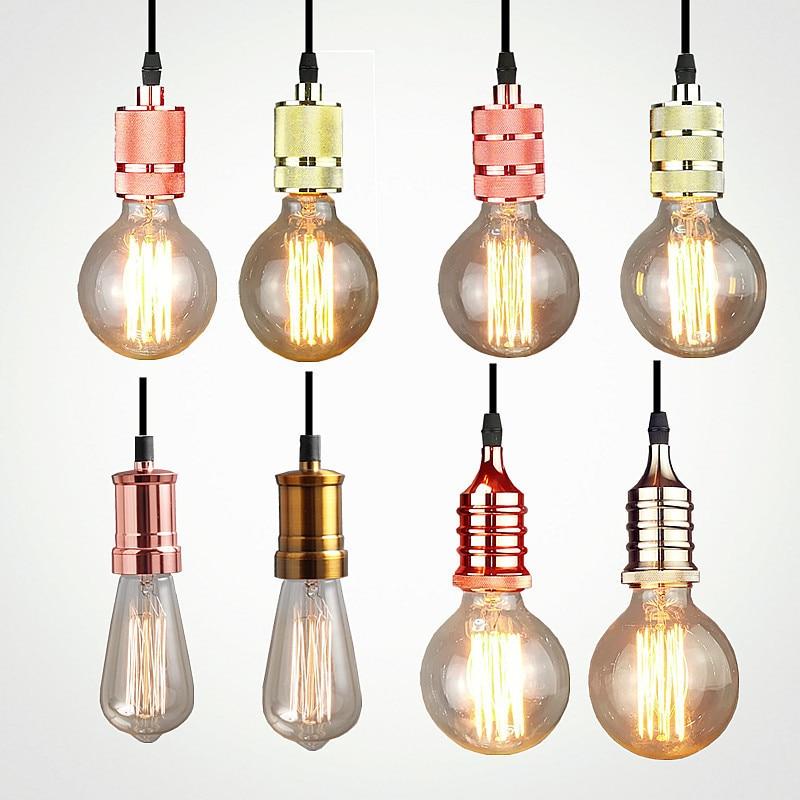 Işıklar ve Aydınlatma'ten Kolye ışıkları'de Vintage LED ahşap kolye ışık sanat yemek odası modern asılı lamba E27 İskandinav kolye işıkları oturma odası restoranlar bar droplight title=