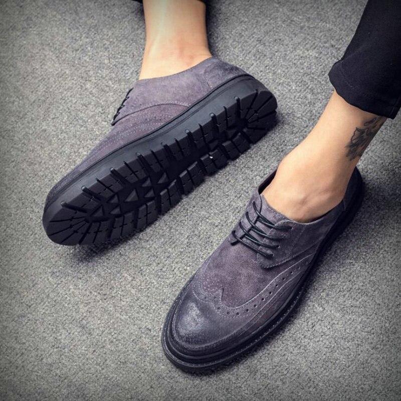 25 Brogue Lk Negócios verde Sapatos De Estilo Formal Camurça cinza Preto Britânico Casuais Vestem Moda Oxfords Marca Se Festa Mens Apartamentos Homens fUq68wT