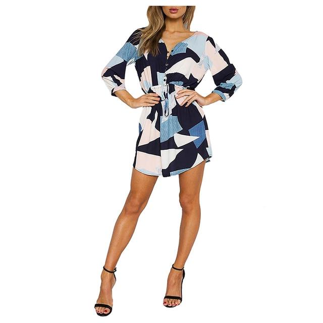 318b3102 US $8.32 |Kobiety Nowa Moda Geometryczny Wzór Mini Sukienka Sexy Dekolt  Przycisk Sukienki Na Co Dzień Wakacje Luźne Lato Jesień Boho Plaża ...