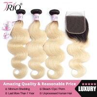 Трио 1B 613 блондинка Связки с синтетическое закрытие волос бразильский средства ухода за кожей пучки волнистых волос синтетическое закрытие