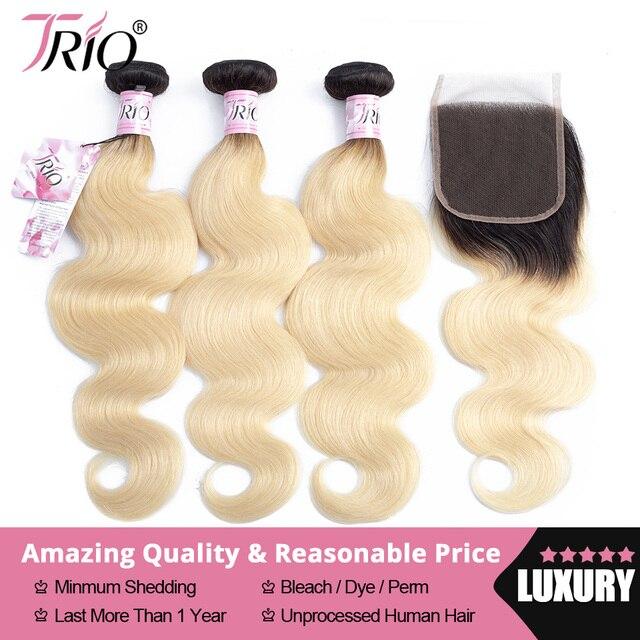TRIO 1B 613 Blonde Bundles With Closure Brazilian Body Wave Hair Bundles With Closure Remy Human Hair Weave Extenstions