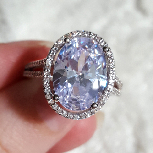 brixini.com - Luxury 6 ct Big Oval Cut AAA Zircon Ring with Micro Paved CZ Ring