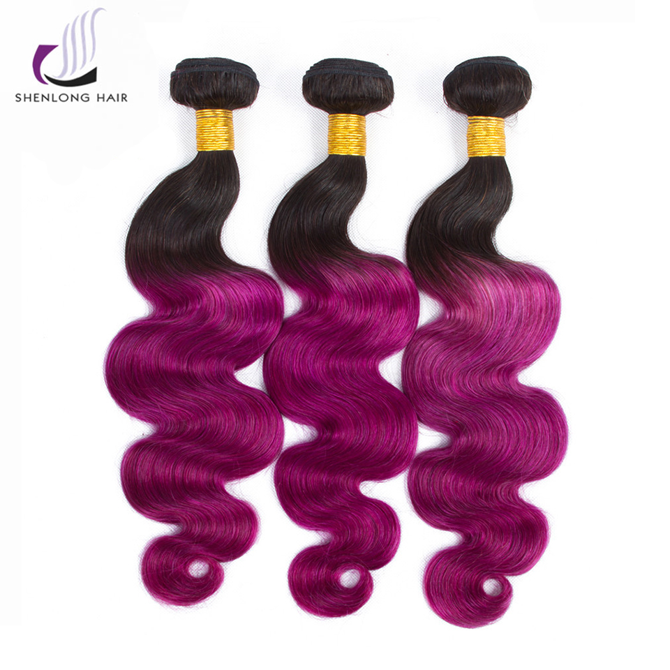 SHENLONG HAIR Peruvian Body Wave Hair Non Remy 1 Bundles Hair Ombre T1B/Purple Color 100 ...