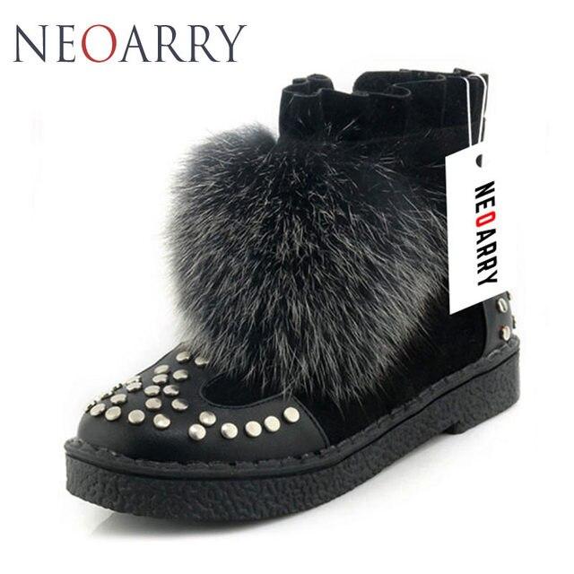 e78bd7feda3 Neoarry Fox Fur Women s Winter Boots Shoes Woman Thick Heel Keep Warm Plus  Size 33-