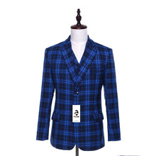 Folobe  Stock Wool Blue Plaid English Style Men Suits Jacket Pants Formal Dress Men Suit Set wedding suits groom tuxedos M12