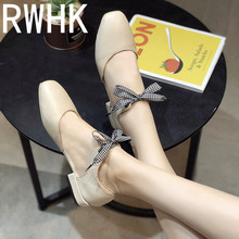 RWHK Sandals female summer Baotou 2019 Korean version of the wild thick with low-heeled square bow ladies fairy shoes B225 2018 new sandals female summer student korean version of the wild simple baotou thick bottomed retro wedge shoes