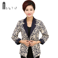 2016 Print Blazers Women New Middle Aged Mother Clothes Spring And Autumn Single Breasted Turn Down