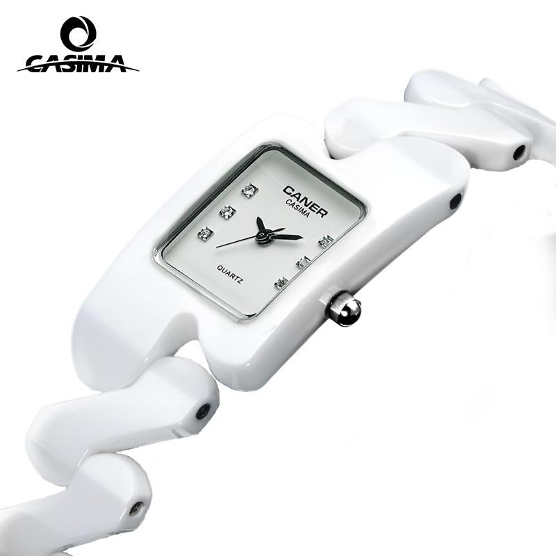 Luxury brand Women watches fashion casual elegant rectangle ceramic White quartz wrist watch Women Waterproof 100m CASIMA #6703 fashion elegant m