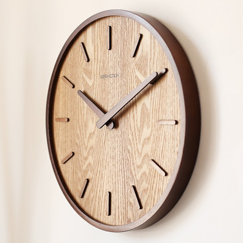 14-Inch Japanese Home Quiet Clock Living Room Bedroom Simple Modern Decoration Hanging Watch Wooden Quartz Clock Circular