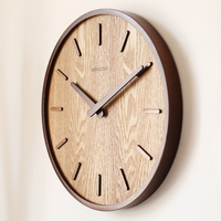 14 inch Japanese Home Quiet Clock Living Room Bedroom Simple Modern Decoration Hanging Watch Wooden Quartz Clock circular