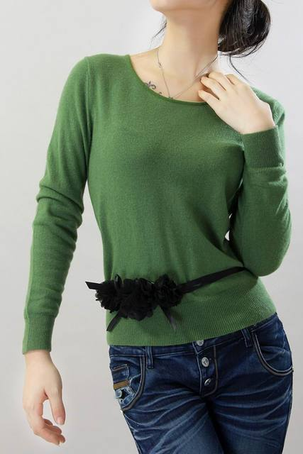 Green 100 Cashmere Sweater Women Pullover Natural Fabric Soft Warm ...