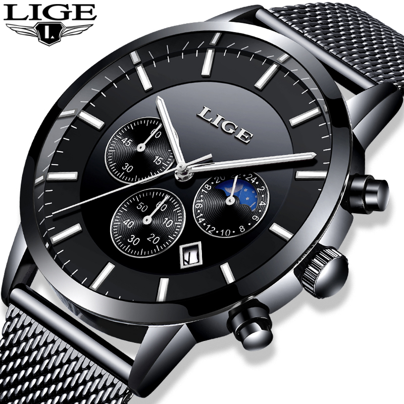 LIGE Fashion Mens Watches Top Brand Luxury Quartz Watch Mens Casual stainless Steel Waterproof Sport Watch Relogio Masculino+Box цена