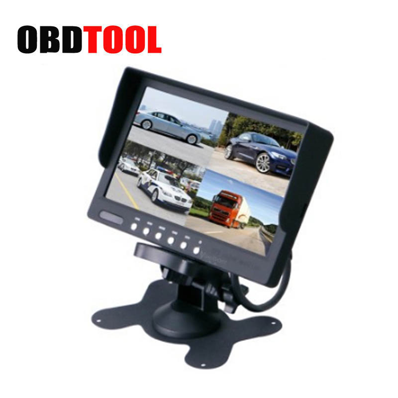 7 Inch Car LCD Display with Split Four Screen Display 4 Road Video Input Display PAL/NTSC 800*480 Resolution Monitors JC20 g084sn05 v 1 8 4 inch 800 600 lcd display screen g084sn05 v1