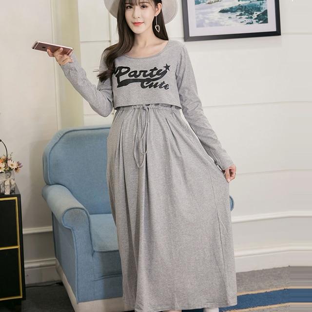 fad4b2d683998 الخريف الأمومة فساتين الحمل التمريض ممرضة الملابس طويلة lactate vestidos  ملابس النساء الحوامل المرضعات اللباس الملابس