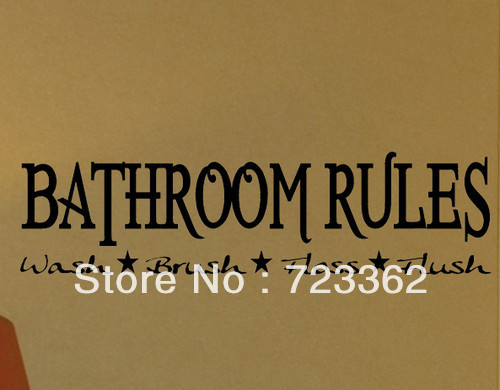 BATHROOM RULES DECAL WALL VINYL STICKER LETTER WORDS SAYINGS WASHROOM  TOILET Wall Art Wall Sayings Size
