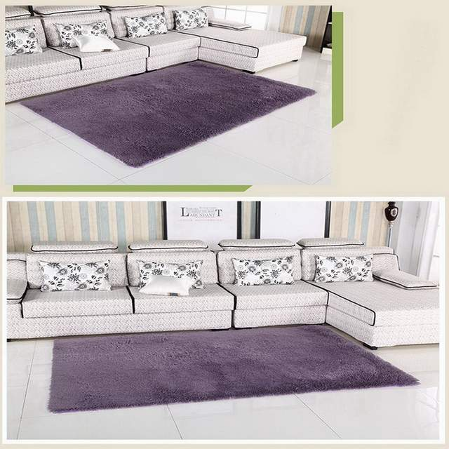 Accueil salon/chambre tapis moderne doux antidérapant tapis violet ...