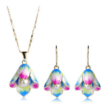 Blucome Elegant Simulated Pearl Pendant Necklace Earrings For Women Gold Color Enamel Colar Brincos Beads Wedding Jewelry Sets(China)