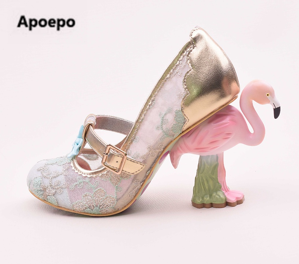 Selling brand design women shoes Flamingo strange style pumps novelty high heels pumps shoes women lace embroider party shoes apopeo design brand ladies shoes black beige patent leather pumps 8 cm high heels shoes elephant strange style pumps 2018 newest
