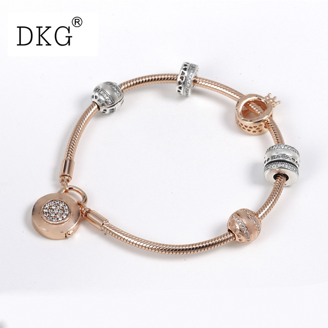 925 Sterling Silver Pan Rose Gold Hollow Crown Set Clear CZ Fit Smooth Signature Padlock Women Bangle Bead Charm DIY Jewelry 925 sterling silver jewelry signature bangle bracelet with clear cz and real 14k gold fine jewelry trendy bangles for women 049k