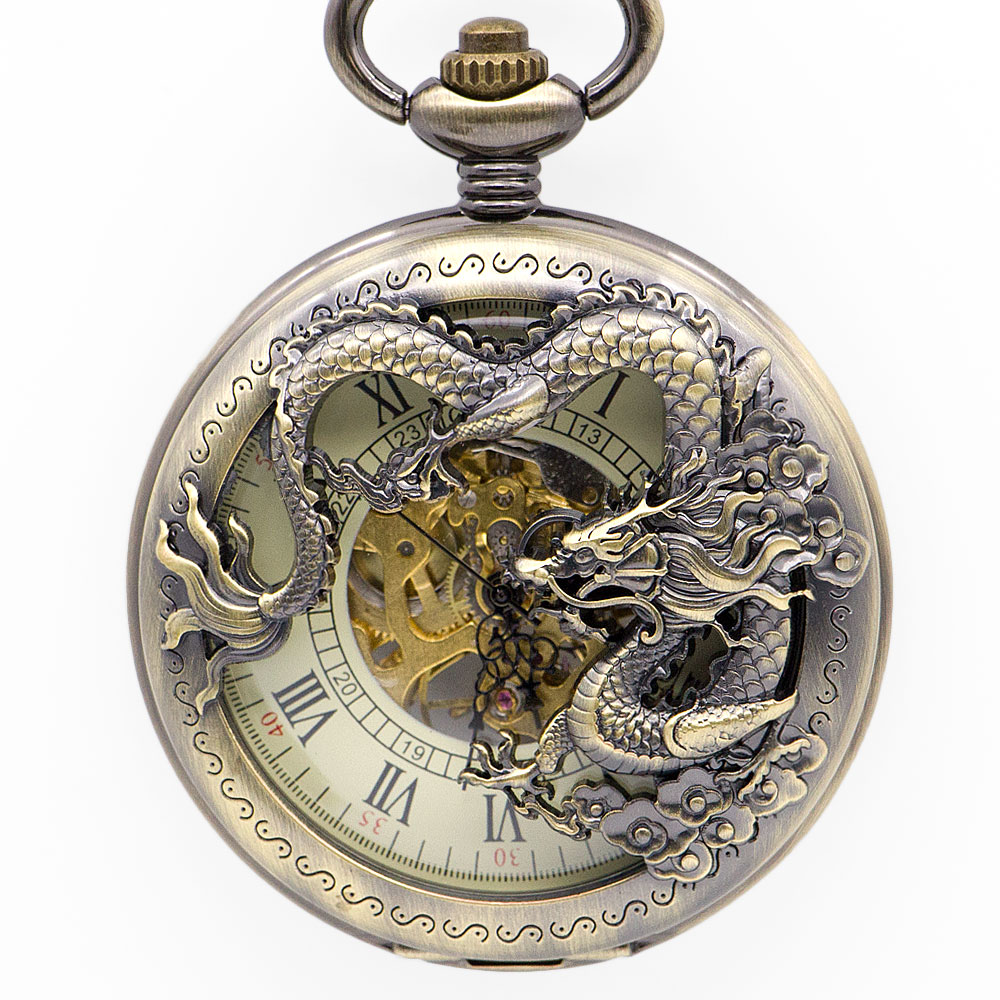 Best Sales Bronze Dragon Roman Hollow Case Mechanical Pocket Watches With Unisex Fob Chain Watch For Men Women PJX1346