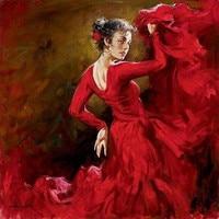 Hand Painted Oil on Canvas Spanish Flamenco Dancer Painting Crimson Dancer by Andrew Atroshenko Figure Painting Arts Work