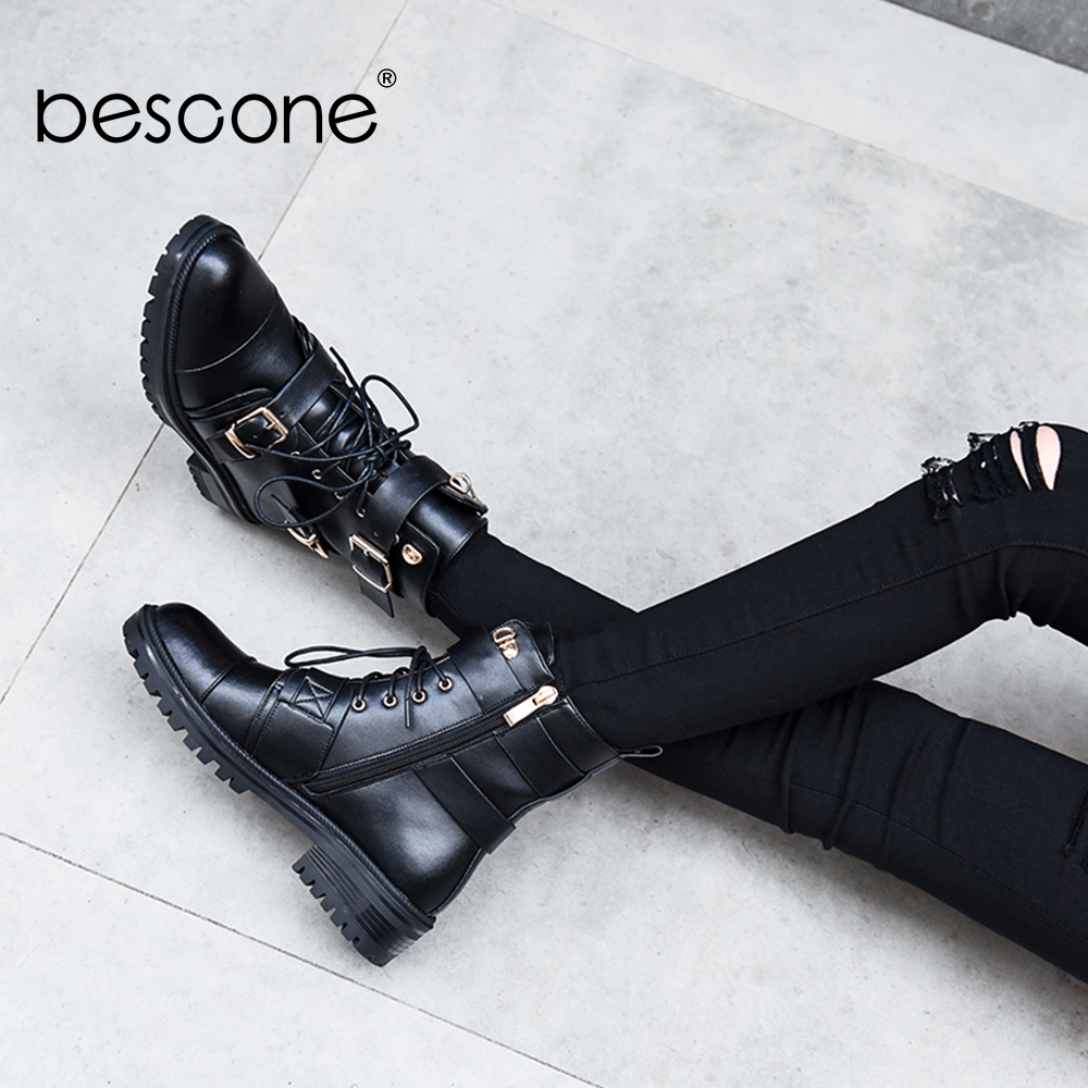 BESCONE Brand Shoes Woman Fashion Genuine Leather Lace Up Round Toe Slip-On Comfortable Cow Boots Women BO263